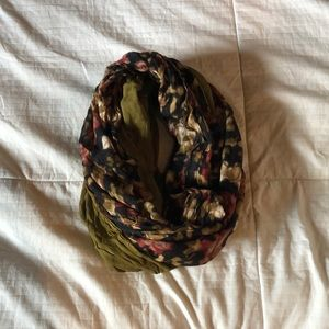 green and floral infinity scarf